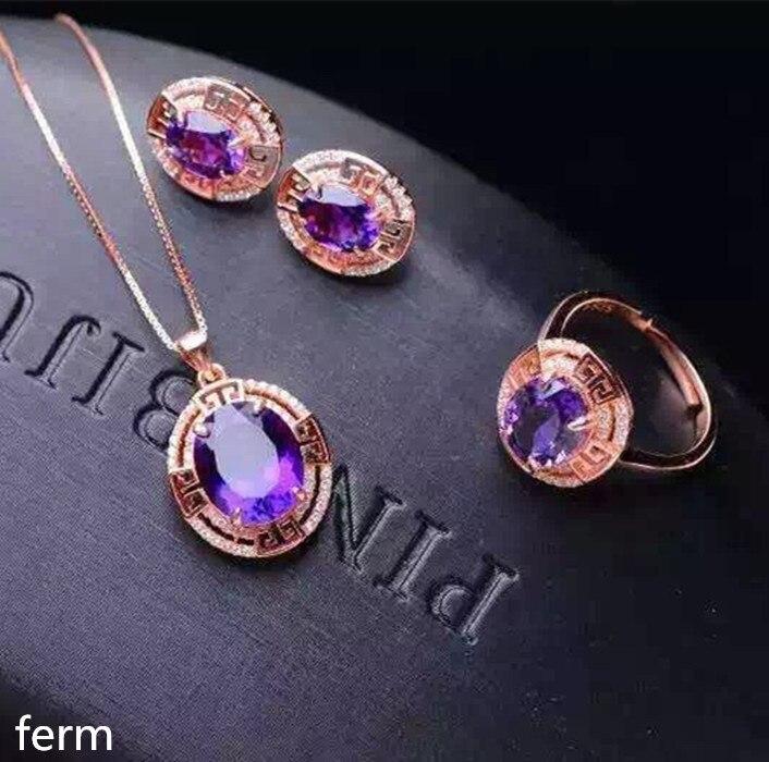 2019 Neuestes Design Kjjeaxcmy Boutique Juwelen Mädchen Stil 925 Sterling Silber Set Amethyst Ring Anhänger Halskette Ohrringe Löwenzahn üBerlegene (In) QualitäT