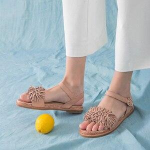 Image 4 - Beautoday Zomer Sandalen Schapenvacht Lederen Fringe Gedetailleerde Gesp Vrouwen Touw Zool Platte Hak Schoenen Handgemaakte 32049