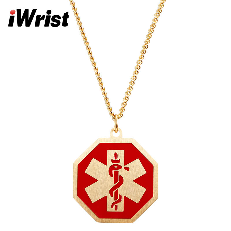 Iwrist medical id alert engraving necklace gold color luxury iwrist medical id alert engraving necklace gold color luxury stainless steel pendant for women choker fashion jewelry men charm in chain necklaces from aloadofball Images