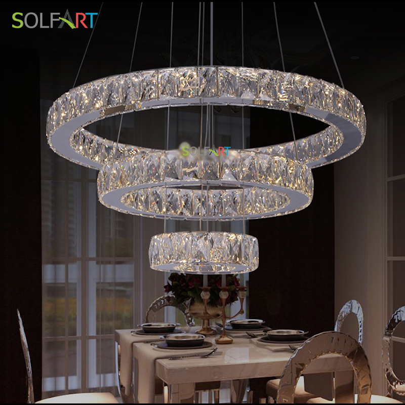Pendant Lights LED Lampara Modern Cord Pendant With 3 Ring CE CCC Crystal  Lamp Dining Room