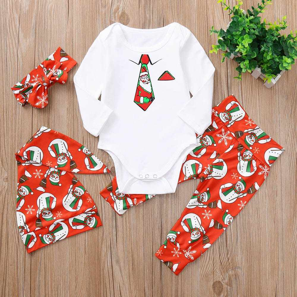 4PCS Newborn Baby Boy Girl Christmas Necktie Snowman Print Long Sleeve Romper+Pants+Hat+Headband Set babies Clothes nightclothes