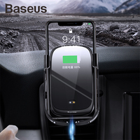 Baseus mobile phone holder QI wireless charger for iPhone X Samsung S10 S9 S8 car phone charger fast wireless charging car mount
