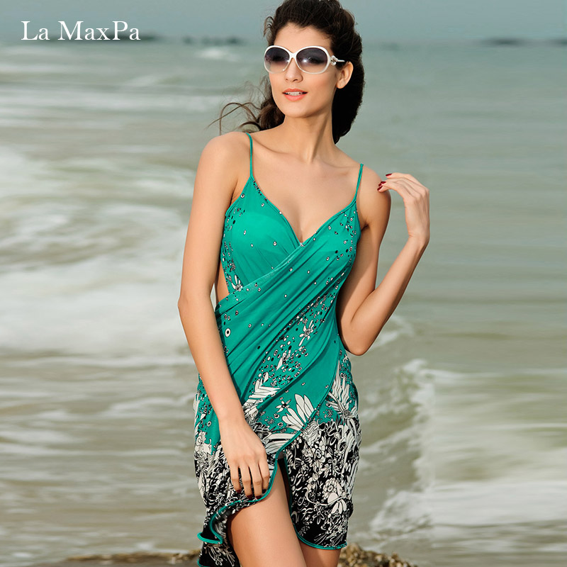 La MaxPa beach cover up 2018 sexy bikini summer beach dress for womens tunics skirt one piece swimsuit cover ups sarong wear la blanca women s printed cover ups