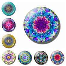 30mm Glass Dome Cabochon Round Mandala Pattern Fridge Magnet Refrigerator Sticker Christmas Home Decoration Message Holder 1pc