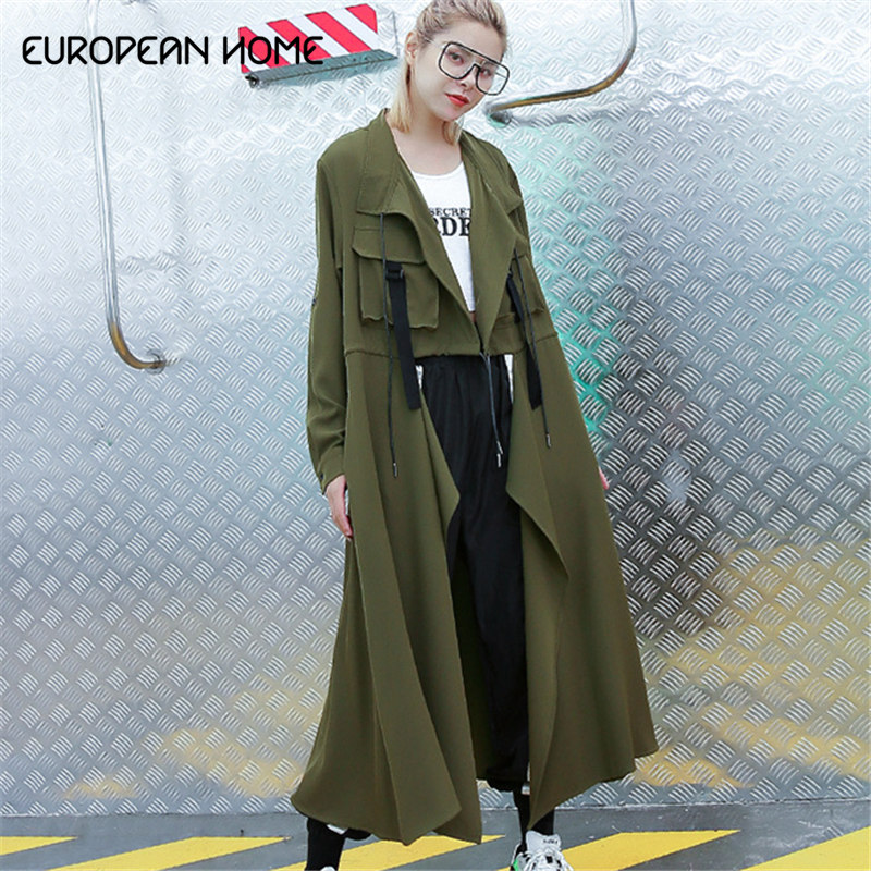 European Home Spring Autumn Pluz Size   Trench   Coat for Women New 2019 Solid Color Ladies Windbreaker Solid Color Women Clothing