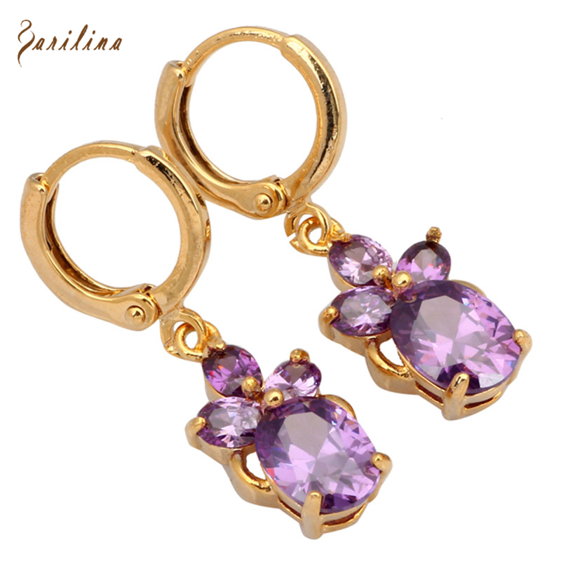 New 2017 gift Drop dangle earrings gold Purple Cubic Zirconia stones Brand Fashion earrings for women E120