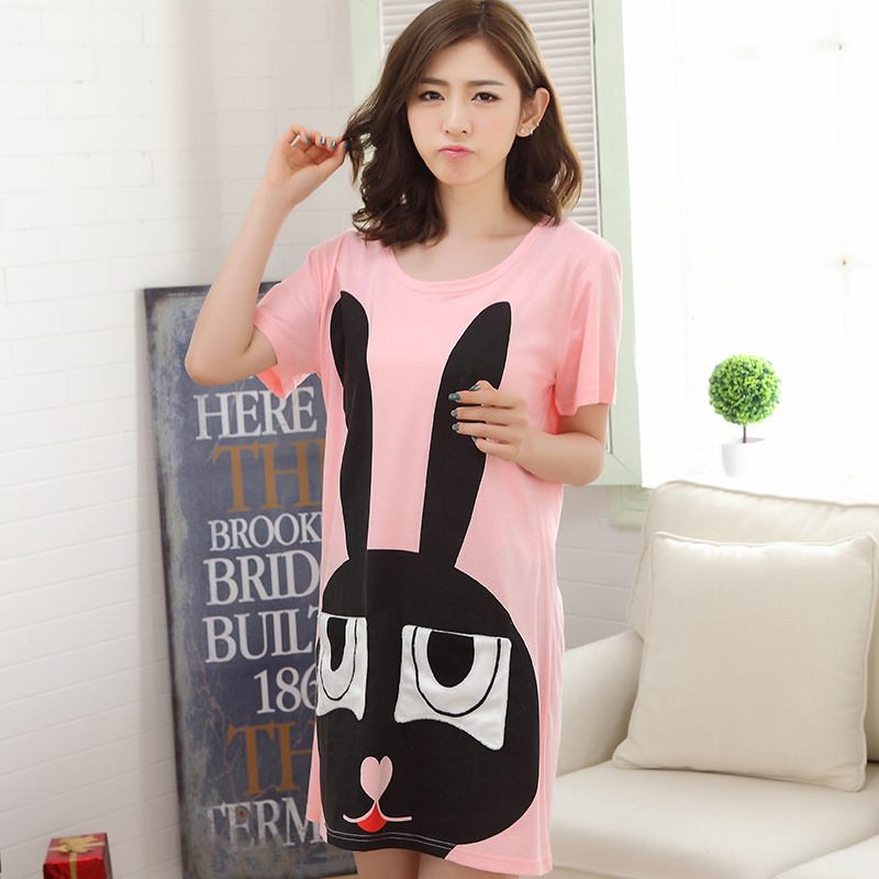 Summer Cotton Dresss Women's   Nightgowns  &  Sleepshirts   Cartoon Rabbit Nightdress Girl Sleepwear Femme Pyjamas Women Lounge Fashion