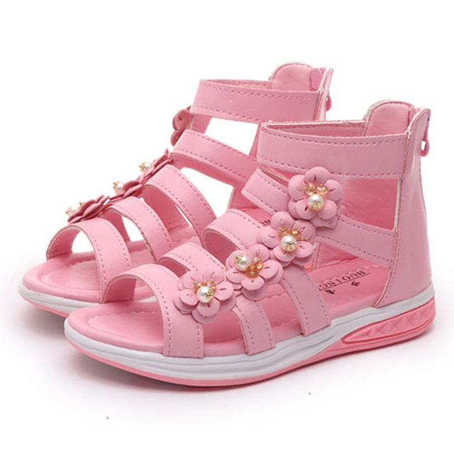 2017 Summer Kids Girls Fashion Sandals Zip Open Summer Kids Gladiator Shoes Flower Straps Girls Beach Sandals Kids Shoes Sandale