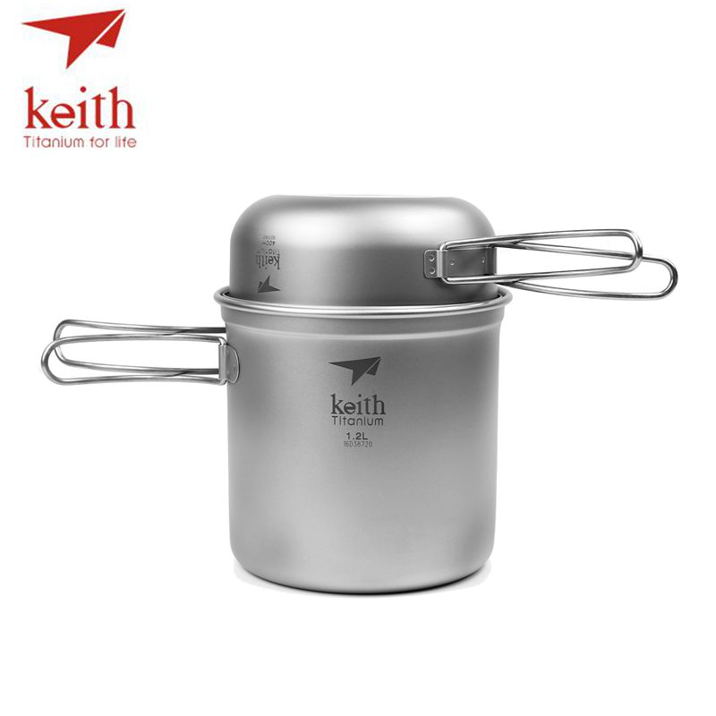Keith Titanium 1 2L Pot 400ml Bowl Set Folding Handle Cook Sets Titanium Pot Set Camping