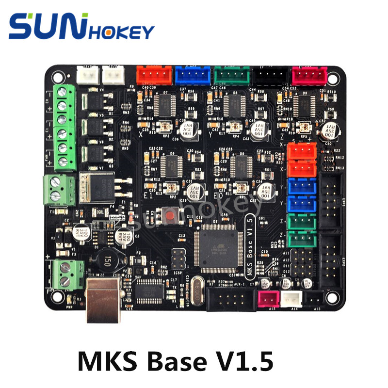 3D Printer Parts  i4 mainboard MKS Base V1.5 with Radiators & USB compatible Mega2560 &RAMPS1.4 combo controller flsun 3d printer big pulley kossel 3d printer with one roll filament sd card fast shipping