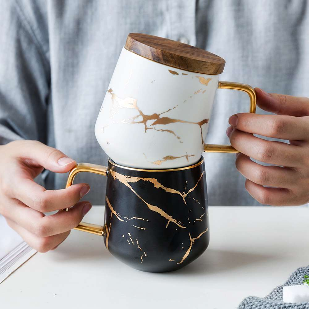 Gold Inlay Ceramic Coffee Mugs