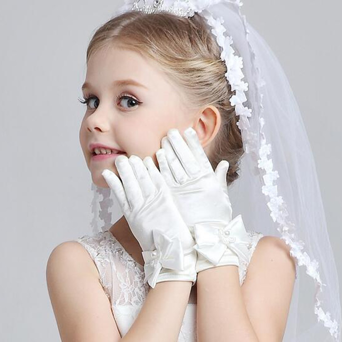 Comfortable Lovely Flower Girl Party Bowknot Female Fingerless Gloves Mittens Women Ceremony Communion Accessories