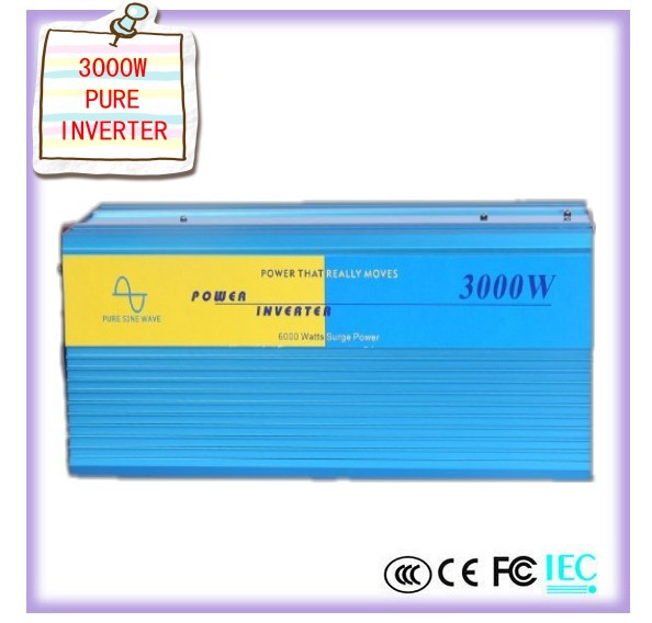 free shipping digital display 3000W Pure Sine Wave Power Inverter Converter 12V DC to 220V AC 6000 Watt Peak