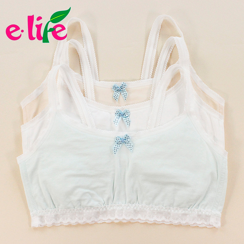 ! Girls' Cotton Crop Tops - Blue / White Bare. Solid Training Bras. First 3pieces/lot. 70-80A eileen yang's store