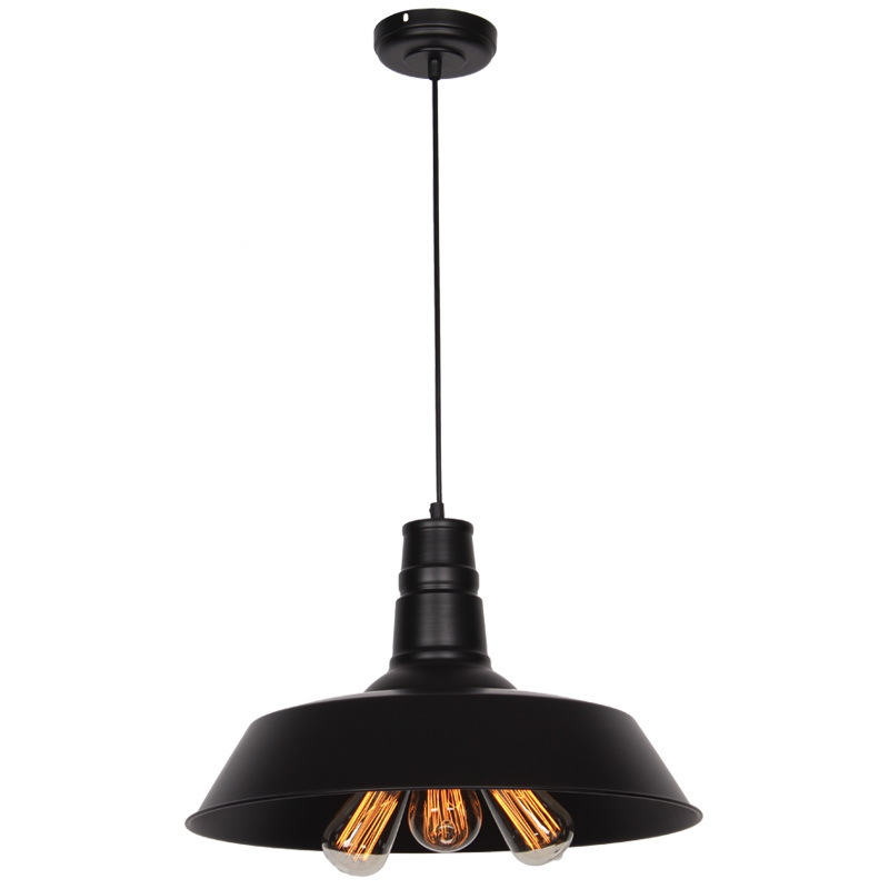 Industrial Vintage Barn Metal Edison Pendant Hanging Lights for Cafe Bar Dining Room Restaurant Max.120W Black Painted Finish