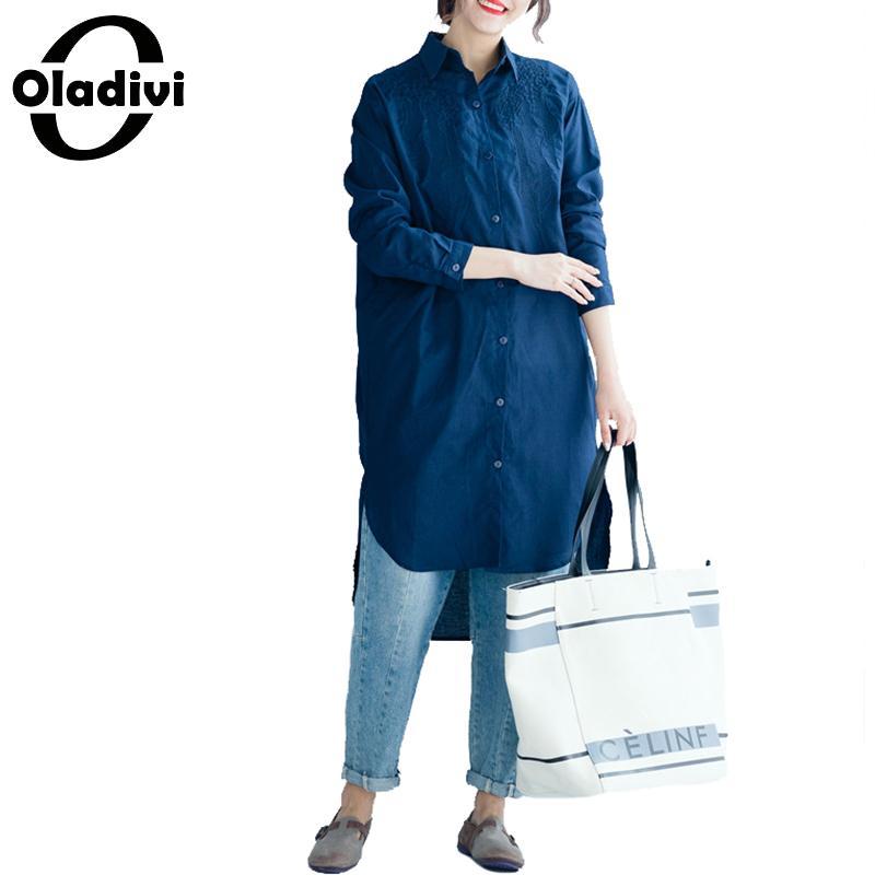 Oladivi grande taille femmes Blouses de mode dames OL chemises officielles printemps été 2019 nouveau bureau Top femme tuniques Blusas 2 couleurs