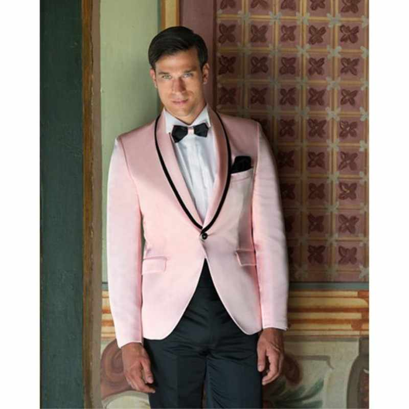 TPSAADE ピンクタキシード結婚式のジャケットスーツスリムフィットカスタム 2 ピースウエディング男性スーツ新郎摩耗男性ブレザー (ジャケット + パンツ + ネクタイ)