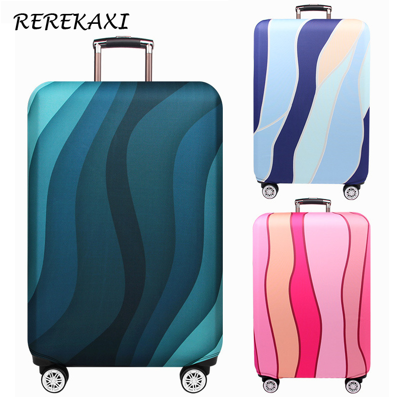 Wavy Striped Luggage Cover Travel Accessories 18-32 Inch Suitcase Elastic Protection Case Covers Trolley Baggage Dust Cover