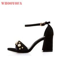 b10d116f3 Nova marca de Verão Vogue Pérolas Preto Mulheres Casuais Sandálias 2  Polegada Praça sapatos de Salto