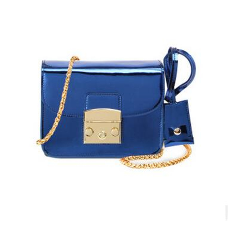 Women Bags 2017 New Style Bright Leather Chain Bags Blue And Bronze Tide Fashion Single Shoulder Bag Travel Mini Messenger Bags 2017 fashion all match retro split leather women bag top grade small shoulder bags multilayer mini chain women messenger bags