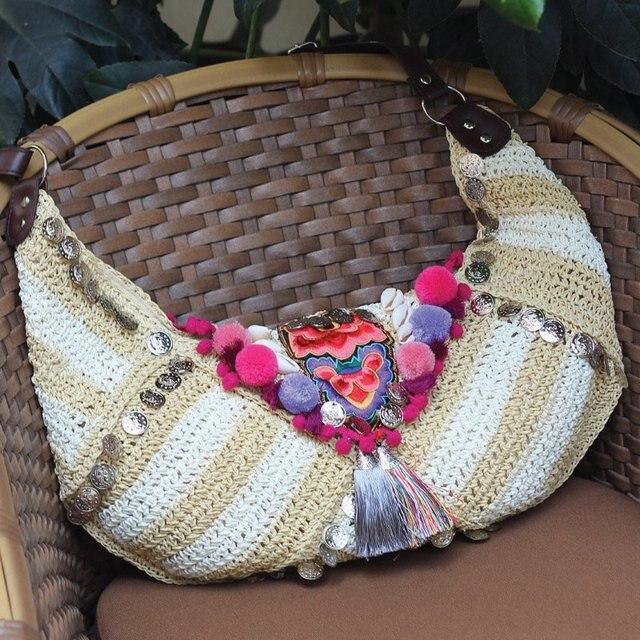 c0d65ea69 Ethnic Bohemian Verão bolsa de Palha Bolsa de Praia Tecido Hippie Boho Indiano  Tecido Bordado saco