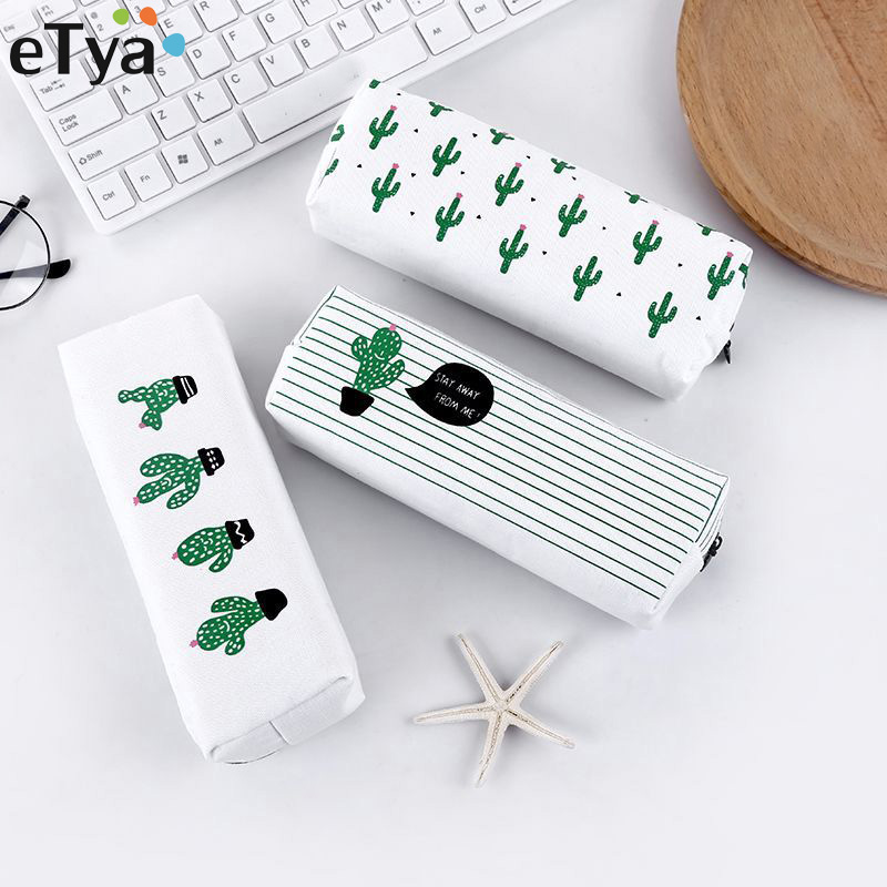 ETya Women Travel Toiletry Cosmetic Bag Pencil Make Up Makeup Case Storage Pouch Purse Organizer Cactus Printing Students Bags
