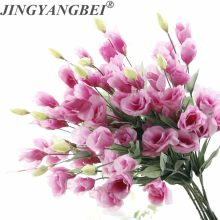 7 głów Eustoma Lisianthus jedwab sztuczny kwiat bukiet ślubny strona główna sztuczne kwiaty do dekoracji