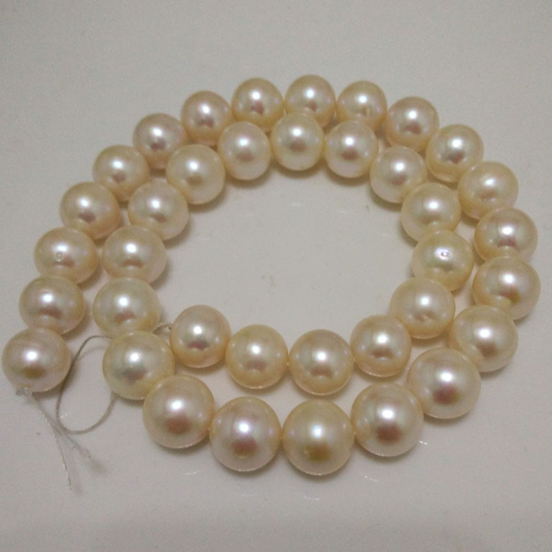 16 inches 11-12mm AA+ High Luster White Round Fresh Water Pearl Loose Strand for Necklace xishixiu 11 16 inches
