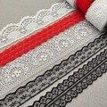 Оптовая продажа, 10 ярдов/партия, белая кружевная лента, качественная кружевная отделка, кружево с вышивкой «сделай сам» для швейных украшен...