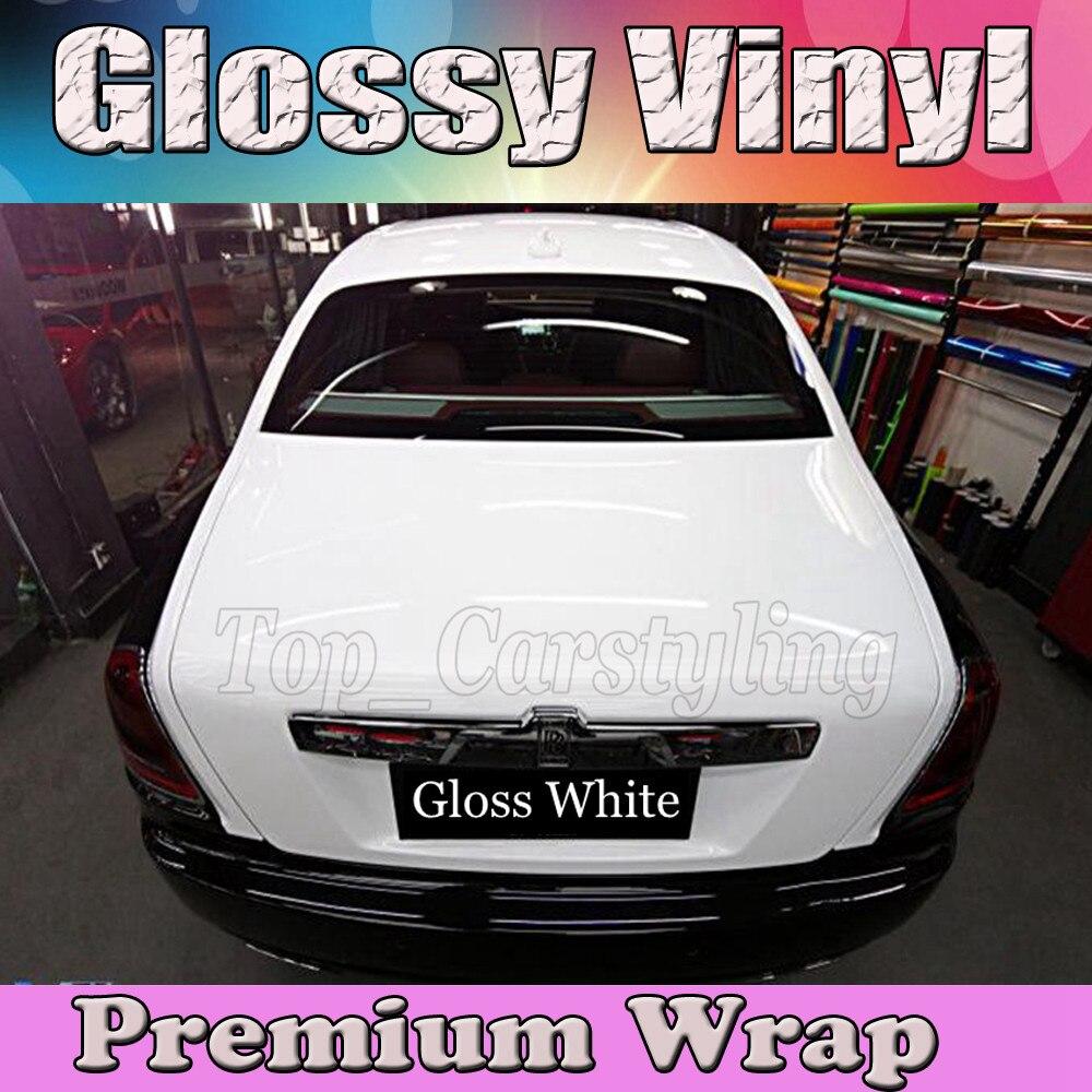 BLANC brillant Vinyle De Voiture Wrap Film Avec Air sortie PROTWRAPS Brillant piano Brillant Véhicule D'emballage Couvrant 1.52x30 m/rouleau (5ftx98ft)