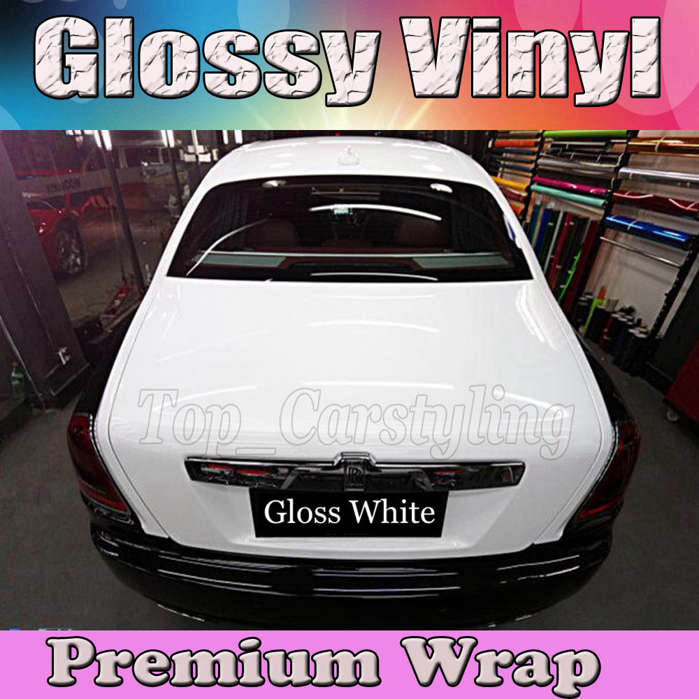 Gloss WHITE Vinyl Car Wrap Film With Air release PROTWRAPS Shiny piano Glossy Vehicle Wrapping Covering 1.52x30m/Roll (5ftx98ft)Gloss WHITE Vinyl Car Wrap Film With Air release PROTWRAPS Shiny piano Glossy Vehicle Wrapping Covering 1.52x30m/Roll (5ftx98ft)
