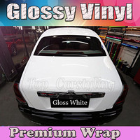 Gloss WHITE Vinyl Car Wrap Film With Air release PROTWRAPS Shiny piano Glossy Vehicle Wrapping Covering 1.52x30m/Roll (5ftx98ft)
