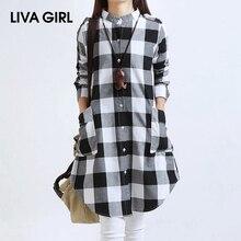 LIVA GIRL New Cotton And Linen Women'S Shirt Women Top Blouses Turn-Down Collar Loose Long Plaid Chemisier Femme Manche Longue