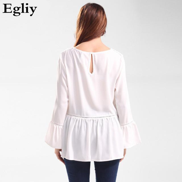 Egliy Autumn Fashion Women Blouse chiffon shirts O-neck Flare Sleeve Sexy Lace Patchwork White Woman Tops  Plus Size