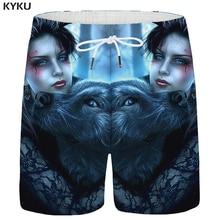 KYKU Wolf Shorts Men Animal Beauty Casual Short