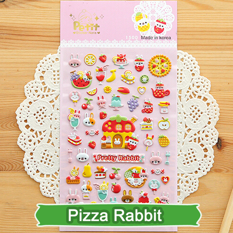 SST 1 Sheet Pizza Rabbit Diary Decoration Kids Stickers 3D PVC Korea Stationery Kindergarten Baby Gift