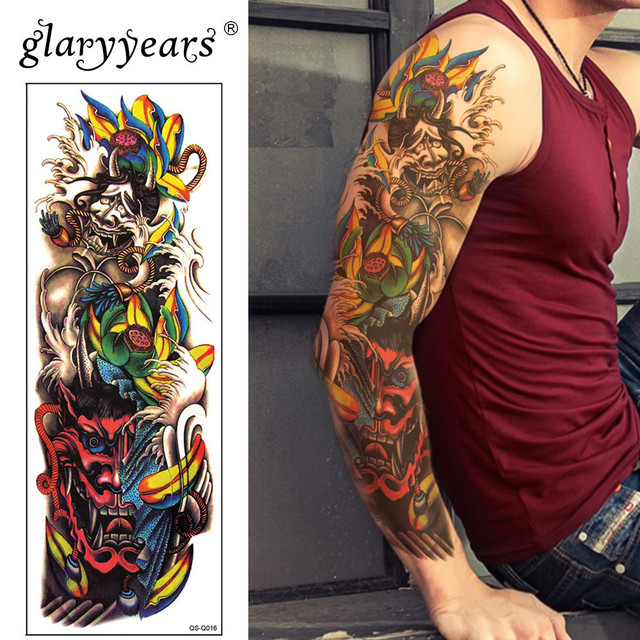 585dfc970e557 Glaryyears Big Arm Temporary Tattoo Sticker Monster Fake Tatoo Cartridge  Flash Tatto Waterproof Big Body Art