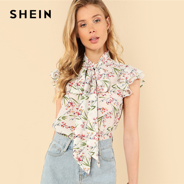 7ab99df47b9fc SHEIN Multicolor Elegant Floral Print Flutter Sleeve Tied Neck Botanical Ruffle  Blouse Summer Women Weekend Casual