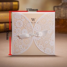 Free Shipping Customized Printing BH2065 Elegant White Laser Cut Wedding Invitation Card 100 PCS