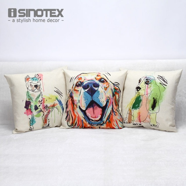 1 PCS 45*45cm Linen Cushion Dog Oil Painting Colorful Print Nordic Sofa Cushions For Home Decor