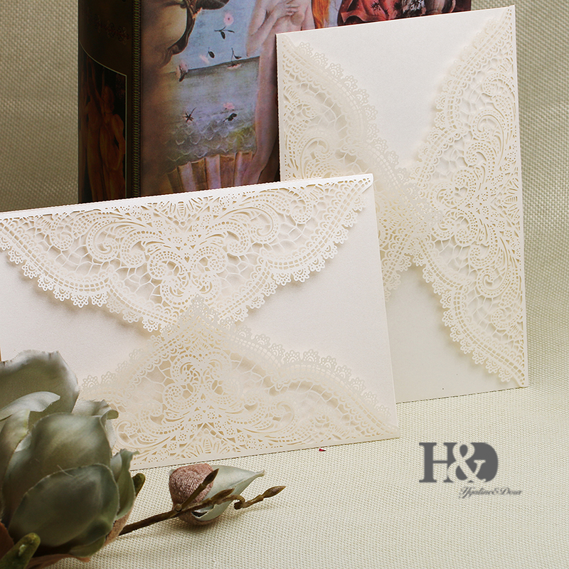 Promotion 60pcs Ivory Wedding Invitation Cards with Custom Personalized Printing Laser Cut Invitations and Hollow Part