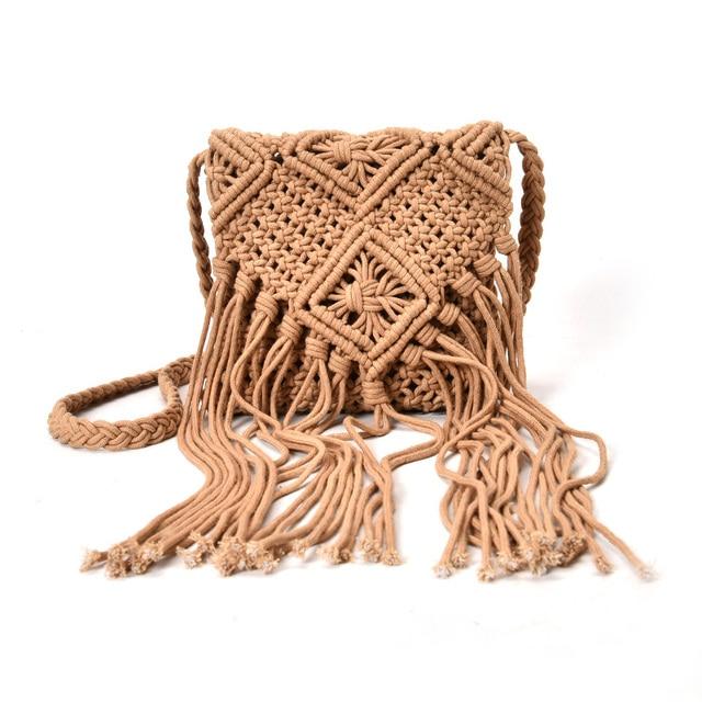 Welp Bohemian Tassel Shoulder Bags Boho fabric Crochet Cotton Fringed YF-33