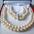 Precio al por mayor 2 filas 8-9mm blanco natural perlas cultivadas de agua dulce collar de perlas de 36 pulgadas ronda larga de las mujeres joyería de la cadena YE2091