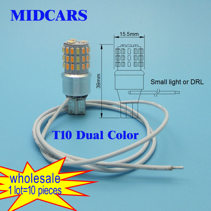 MIDCARS Drl Motorcycle T10 12V led Dual Color White Yellow Daytime Running Light Red Yellow Auto