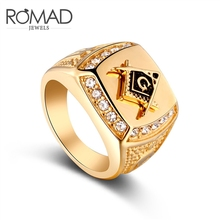 ROMAD Vintage Men Ring Male Shiny CZ Crystal Gold Color Rings for Big Retro Wedding Punk Street Jewelry B50