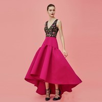 High Low Puffy Skirts Formal Prom Hot Pink Chic Skirt Custom Made Empire A Line Floor Length Skirt