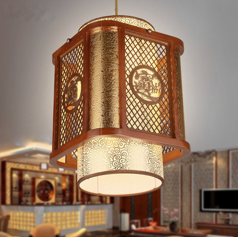 Nouveau classique café sculpté bois art cadre pendentif lumières rurales doré nuage modèle abat-jour lampe pour cour et pavillon MYR028