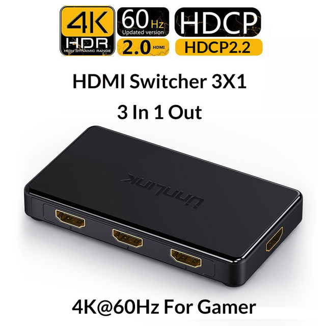Unnlink HDMI Switch 3x1 5x1 HDMI 2.0 UHD4K@60Hz 4:4:4 HDCP 2.2 HDR 3 In 1 Out for smart tv mi box3 ps4pro xbox one xs projector
