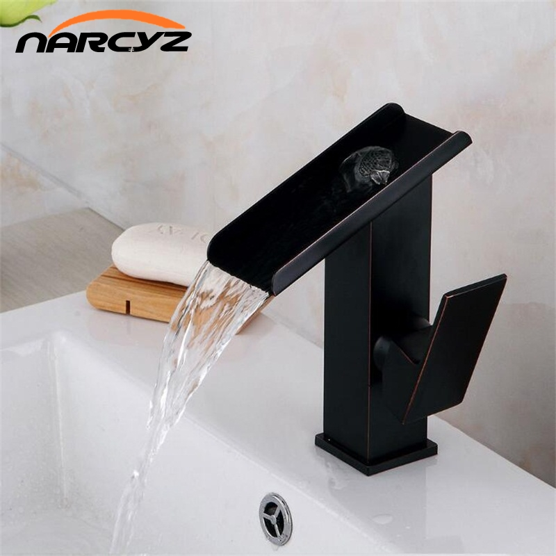 Basin Faucet Brass Black Waterfall Bathroom Vessel Sink Faucets Single Handle Glass Spout Oil Rubbed Bronze Mixer Tap A1010Basin Faucet Brass Black Waterfall Bathroom Vessel Sink Faucets Single Handle Glass Spout Oil Rubbed Bronze Mixer Tap A1010