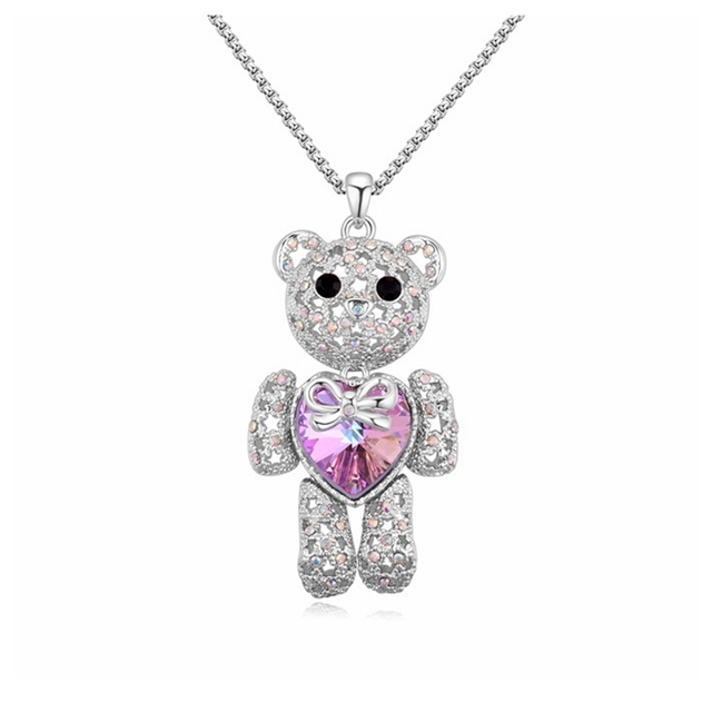 4 Options Heart Austrian Crystal Big Jewelry Teddy Bear Necklace Pendant Long Sweater Chain Women Accessories Hyperbole Bijoux